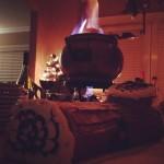 Gluehwein - burning the booze - photo by Rolf